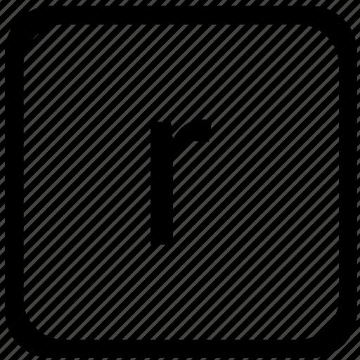 case, key, keyboard, letter, lower, r icon