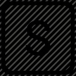 case, key, keyboard, letter, s, upper icon