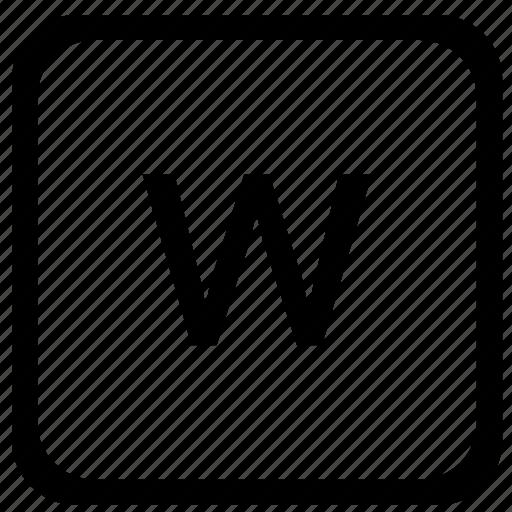 case, key, keyboard, letter, lower, w icon