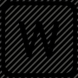 case, key, keyboard, letter, upper, w icon