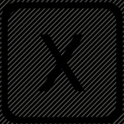 case, key, keyboard, letter, upper, x icon