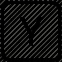 case, key, keyboard, letter, upper, y icon