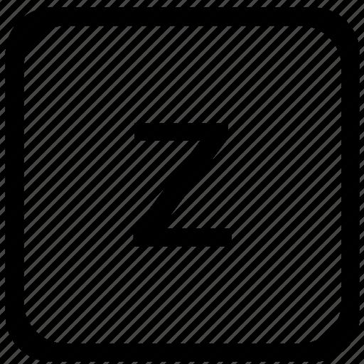 case, key, keyboard, letter, lower, z icon