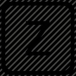 case, key, keyboard, letter, upper, z icon