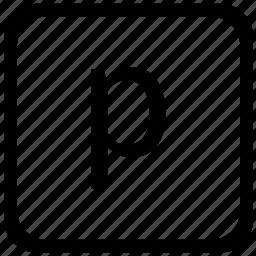 case, key, keyboard, letter, lower, p icon