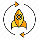 arrow, reusable rocket, rocket, spaceship icon