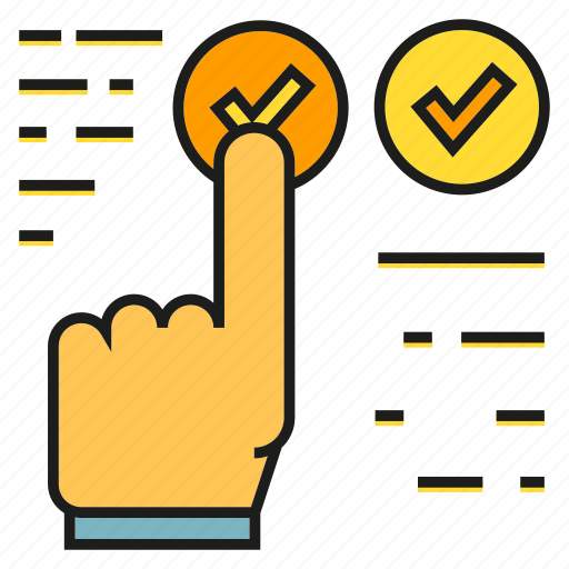 approve, check, finger, hand, tick icon