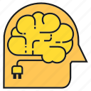 ai, android, brain, creative, humanoid, plug, think icon