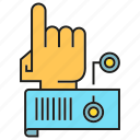 control, finger, robot arm, robotics, sensor icon