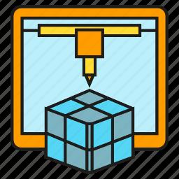 cube, device, maker, model, printer, prototype icon