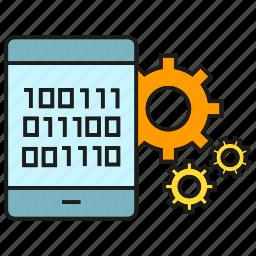 binary, cog, digital, gear, mobile, phone, setting icon
