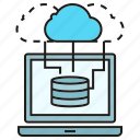 cloud, computer, computing, database, laptop, network, server icon