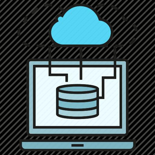 cloud, computer, computing, database, laptop, network, server icon