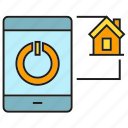 connection, home, house, mobile, phone, sync icon