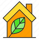 eco, home, house, leaf, nature, smart home icon