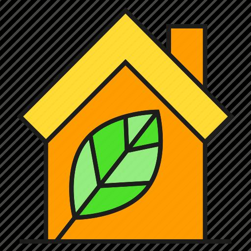 eco, home, house, leaf, nature, smart home icon