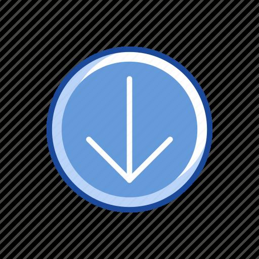 arrow, arrow down, download, pointer icon