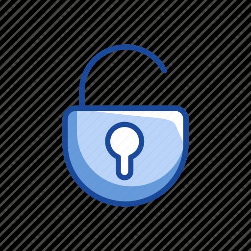 Padlock, security, open, unlock icon