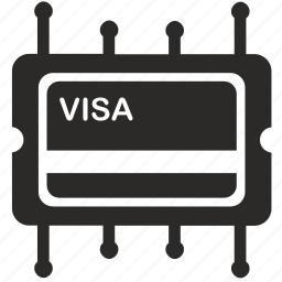 chip, module, pay, payment, visa icon