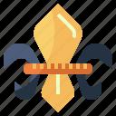 de, fleur, lis, monarchy, royalty, security, shield icon