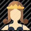 avatar, crown, monarchy, princess, queen, royalty, woman icon