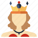 avatar, monarchy, people, queen, royalty, user, woman icon