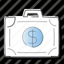 briefcase, cash, money, suitcase icon