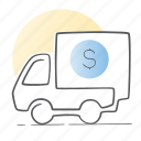 delivery, money, payment, truck, van icon