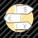 direction, euro, exchange, location