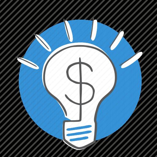 bulb, energy, financial, idea, light icon