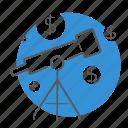 financial, marketing, plan, telescope icon