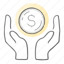 coin, finance, protect, security, shield icon