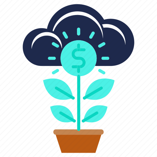 business, growth, investments, money, plant icon