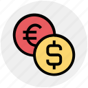 bank, coin, coins, dollar, euro, finance, money icon