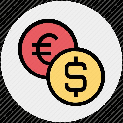 bank, coin, coins, dollar, euro, finance, money icon