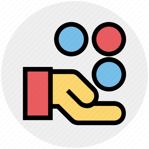 coins, dollar coins, hand, hand and coins, hand holding dollar, hand with dollar, share icon