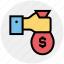 bag, give, gold, hand, money, money bag, pay icon