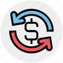 dollar, finance, financial, payment, refresh, sync, turnover icon