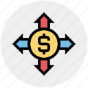 affiliate, arrows, banking, dollar, expand, financial, marketing icon
