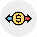 arrows, currency, dollar, exchange rate, finance, money, stock market icon