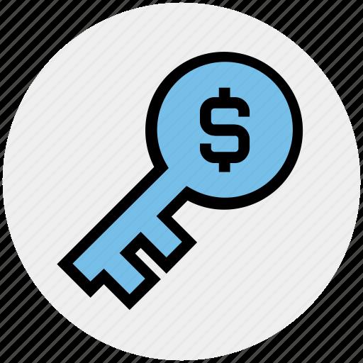 business key, dollar key, incentive, investment, lock key, protection, success key icon
