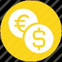 bank, coin, coins, dollar, euro, finance, money