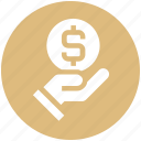coin, dollar coin, hand, hand and coin, hand holding dollar, hand with dollar, share icon