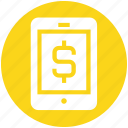 banking app, cell phone, dollar, mobile, mobile banking, money, sign