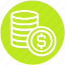 cash, cent, coins, currency, dollar, finance, money icon
