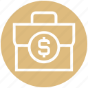brief case, cash bag, currency bag, dollar case, dollar sign, finance, money bag icon