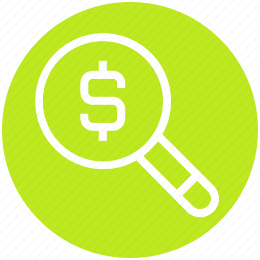 dollar, finance, find, magnifier, money, research, search icon