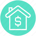 dollar, dollar sign, home, house, online, property, property value icon