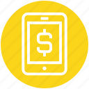 banking app, cell phone, dollar, mobile, mobile banking, money, sign icon