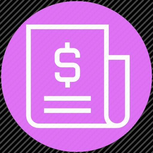 business, currency, document, dollar, headline, money, news icon